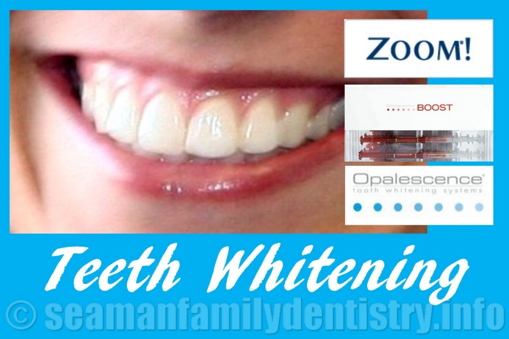 Picture of a Beautiful Smile with the logos for Zoom Boost and Opalescence whitening choices